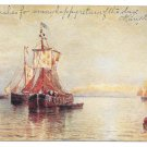 Under Venetian Skies H. Romanie Painting Vtg UDB Art Postcard