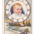 New Year Baby in Clock Face Snowy Winter Scene Vintage Whitney Postcard