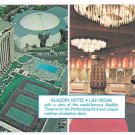 Las Vegas NV Aladdin Hotel Theatre Casino Rooftop Recreation deck Vtg Postcard