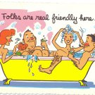 Folks are real friendly here Swingers Couples in Bathtub 1973 Comic Humor Postcard Mexico