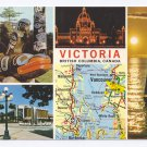 Canada British Columbia Victoria 1978 Multiview Map Vintage 4X6 Postcard