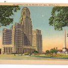 Buffalo NY New City Hall Vintage New York Linen Postcard Metrocraft