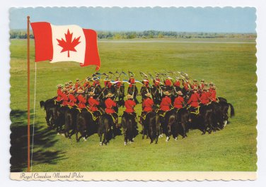 Royal Canadian Mounted Police 1975 Vintage 4X6 Canada Postcard Maple Leaf Flag
