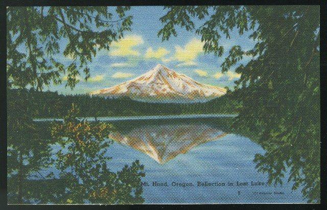 OR Mt Hood Reflection in Lost Lake Oregon Vintage Linen Unused Postcard