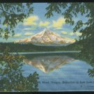 OR Mt Hood Reflection in Lost Lake Oregon Vintage Linen Unused Postcard