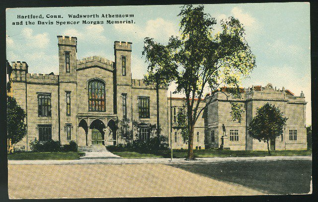 CT Hartford Wadsworth Athenaeum and Davis Spencer Morgan Memorial Postcard Vntg