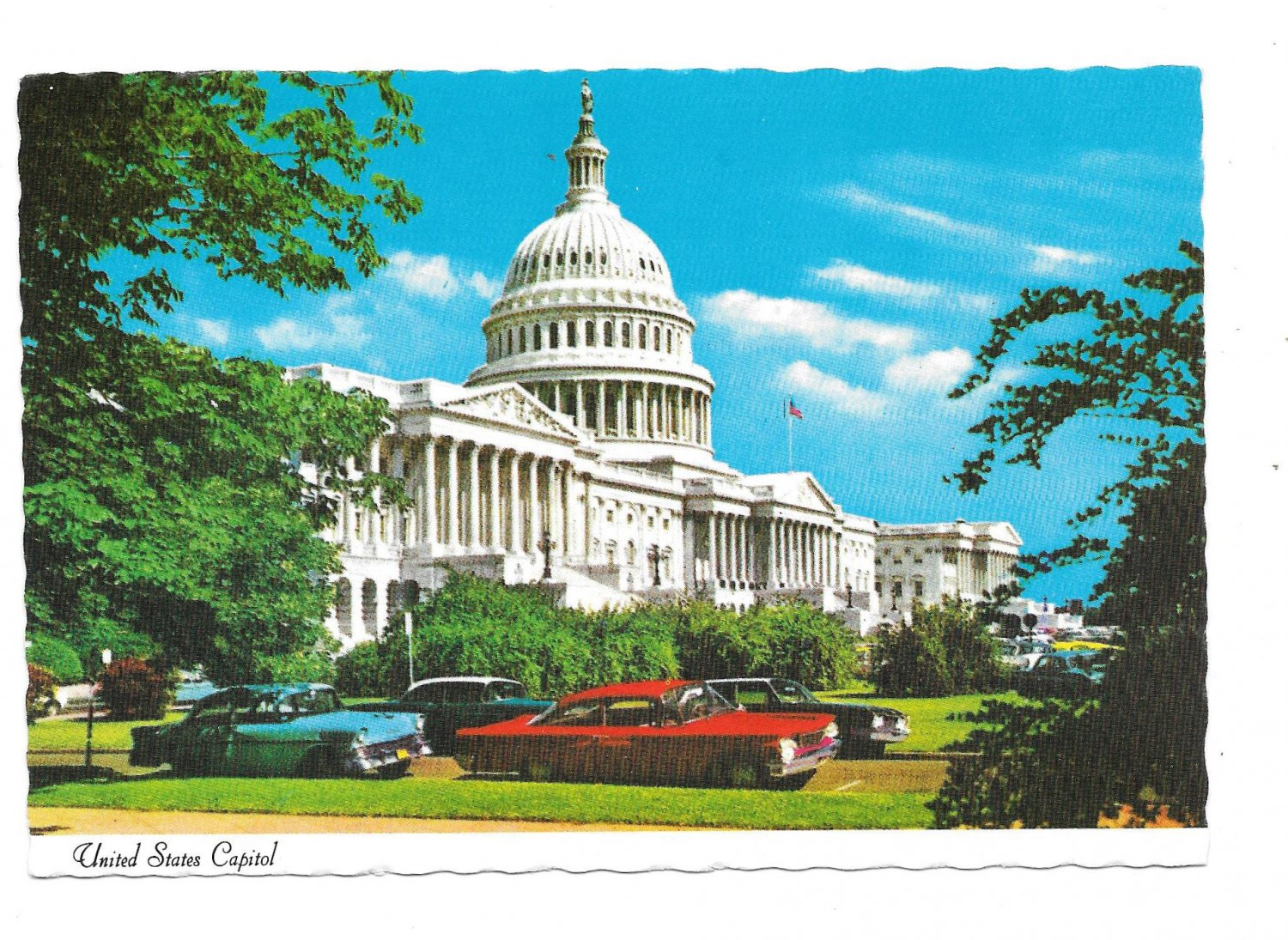 Washington DC United States Capitol Building View w Cars Vtg Postcard 4X6