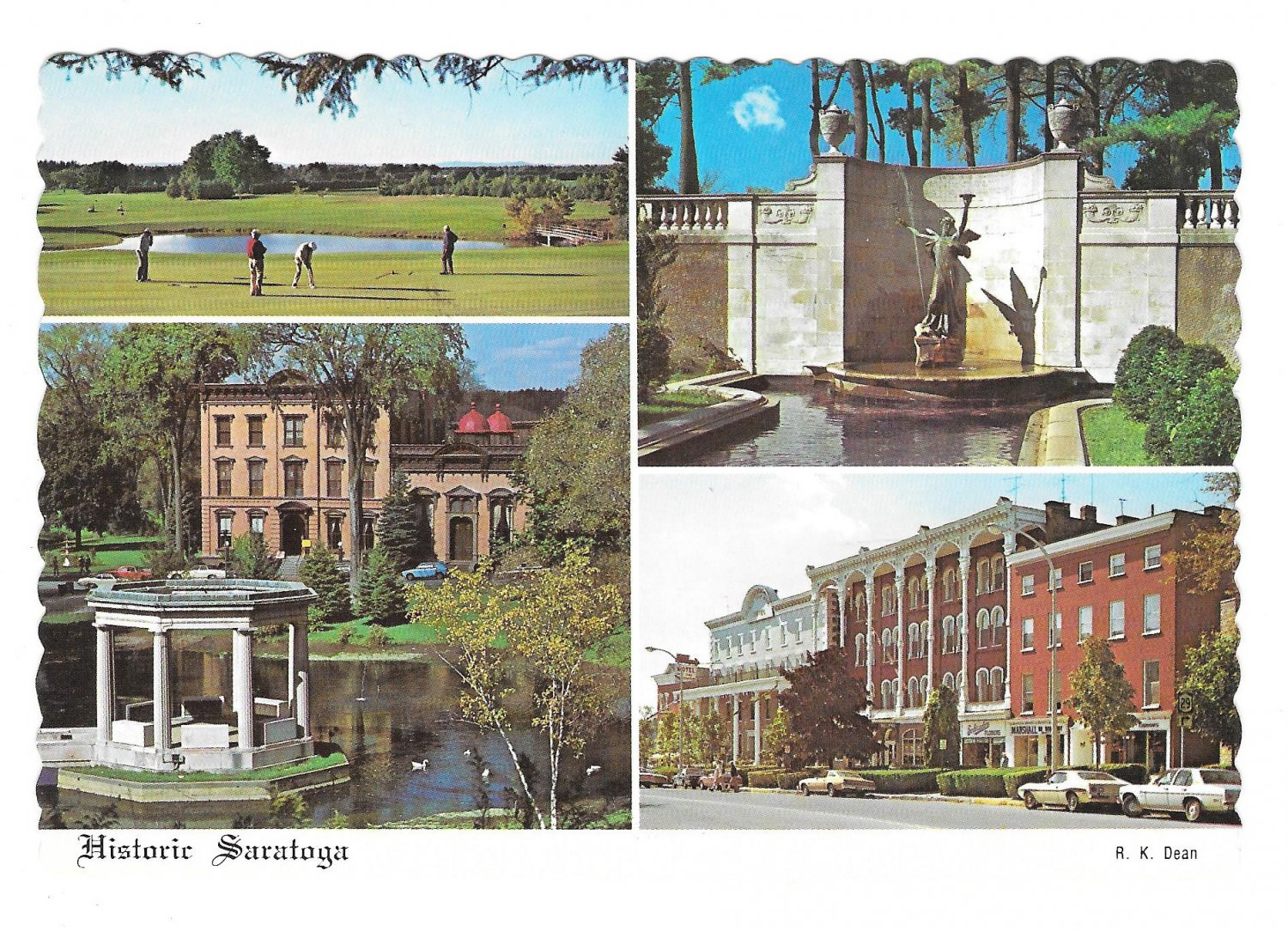 New York Saratoga Springs NY Multi View Museum Golf Course Hotels Vtg Postcard 4X6