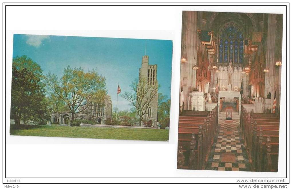 PA Valley Forge National Park Memorial Chapel Bell Tower and Interior Altar 2 Postcards