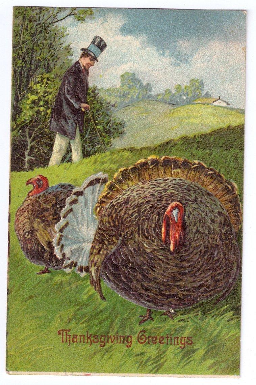 Thanksgiving Turkey Man in High Top Hat Embossed Printed in Germany 1908 Postcard