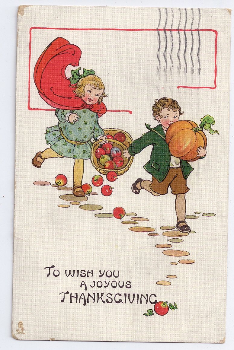 Tuck Thanksgiving Children Postcard No 191 Running Girl Boy Apples Pumpkin Vintage 1916