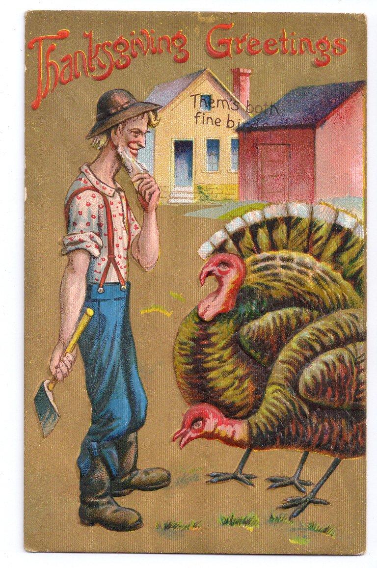 Thanksgiving Farmer Choosing Turkey Thems Both Fine Birds Embossed Gold Moire Postcard
