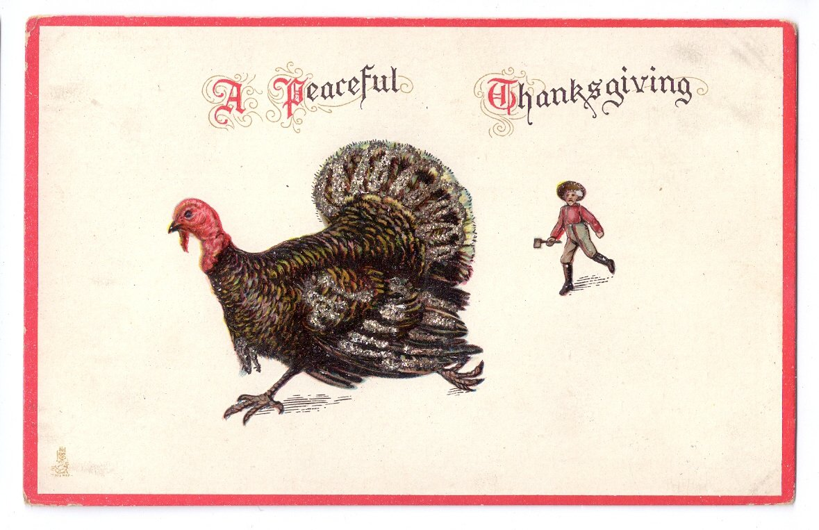 Tuck Thanksgiving Postcard Farmer with Ax Chasing Turkey Glitter Embossesd Vintage