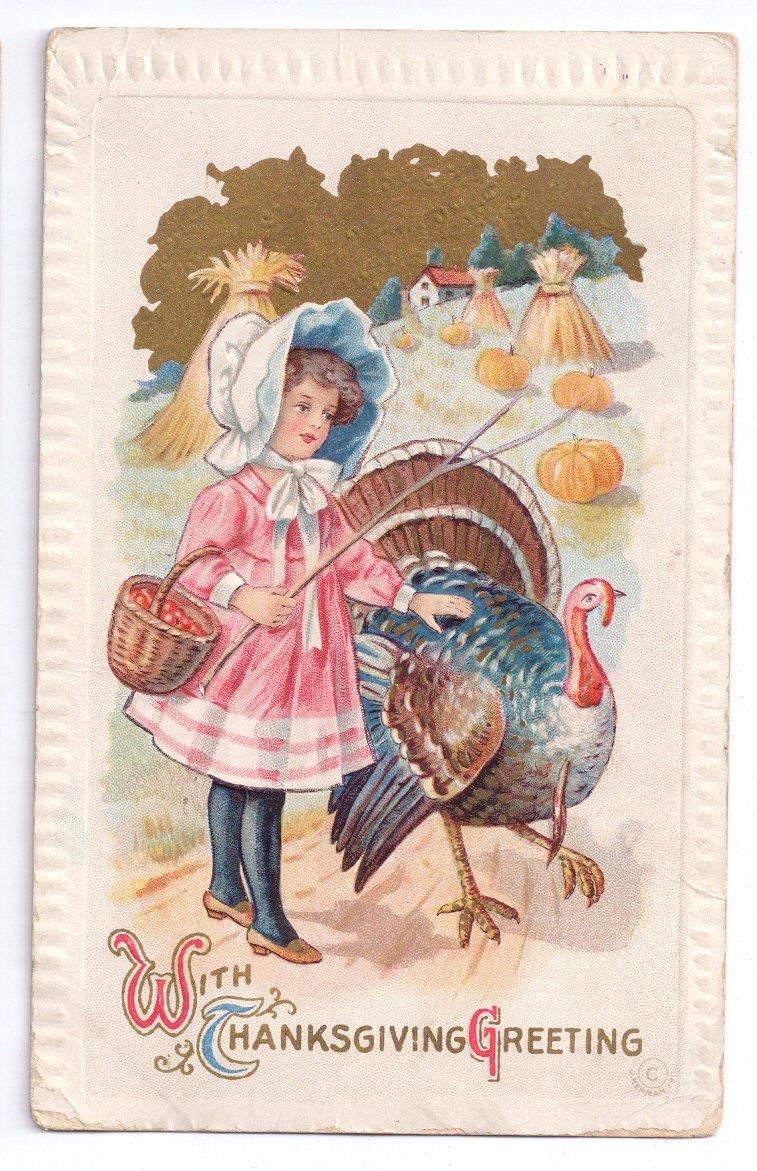 Thanksgiving Girl Turkey Pumpkin Field J Herman Vintage 1911 Postcard Embossed