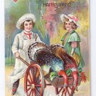 Vintage Thanksgiving Postcard Children Girl Butcher Boy w Turkey in Cart Embossed