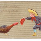 Thanksgiving Boy Teases Turkey with Red Kerchief Vintage Gold Moire Embossed Postcard