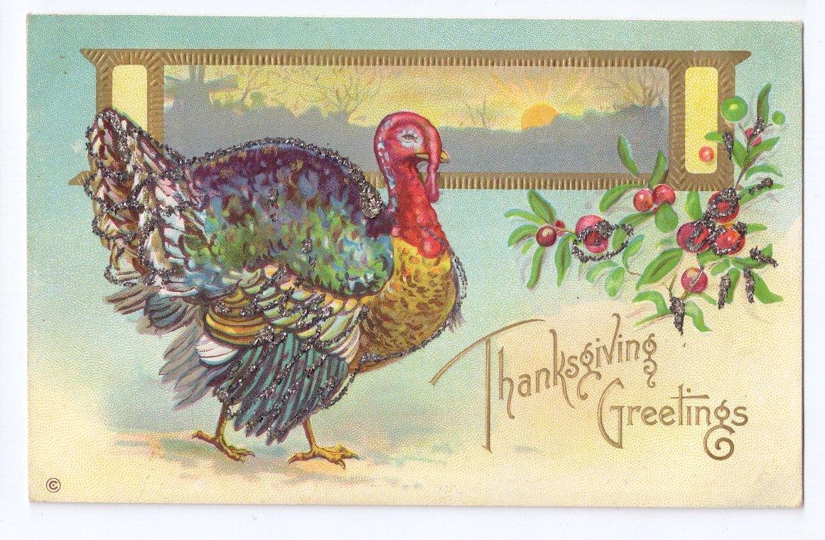 Thanksgiving Turkey Postcard Glitter added Landscape Cranberries Embossed Gilt