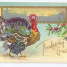 Thanksgiving Turkey Postcard Glitter added Landscape Cranberries Embossed Gilt