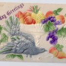Birthday Greetings Dove Fruit Bowl Embossed Vintage Airbrushed Postcard