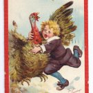 Artist Signed Brundage Thanksgiving Pilgrim Boy Catches Turkey Vintage Embossed Postcard