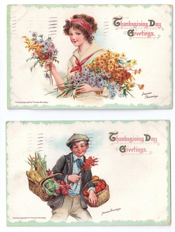 2 Artist Signed Brundage Thanksgiving Postcards Pretty Girl Flowers Boy Baskets Food Embossed