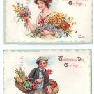 2 Artist Signed Brundage Thanksgiving Postcards Pretty Girl Flowers Boy Baskets Food Embossed