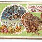 Vintage Thanksgiving Turkey Log Cabin Snow Winter Scene Embossed Postcard