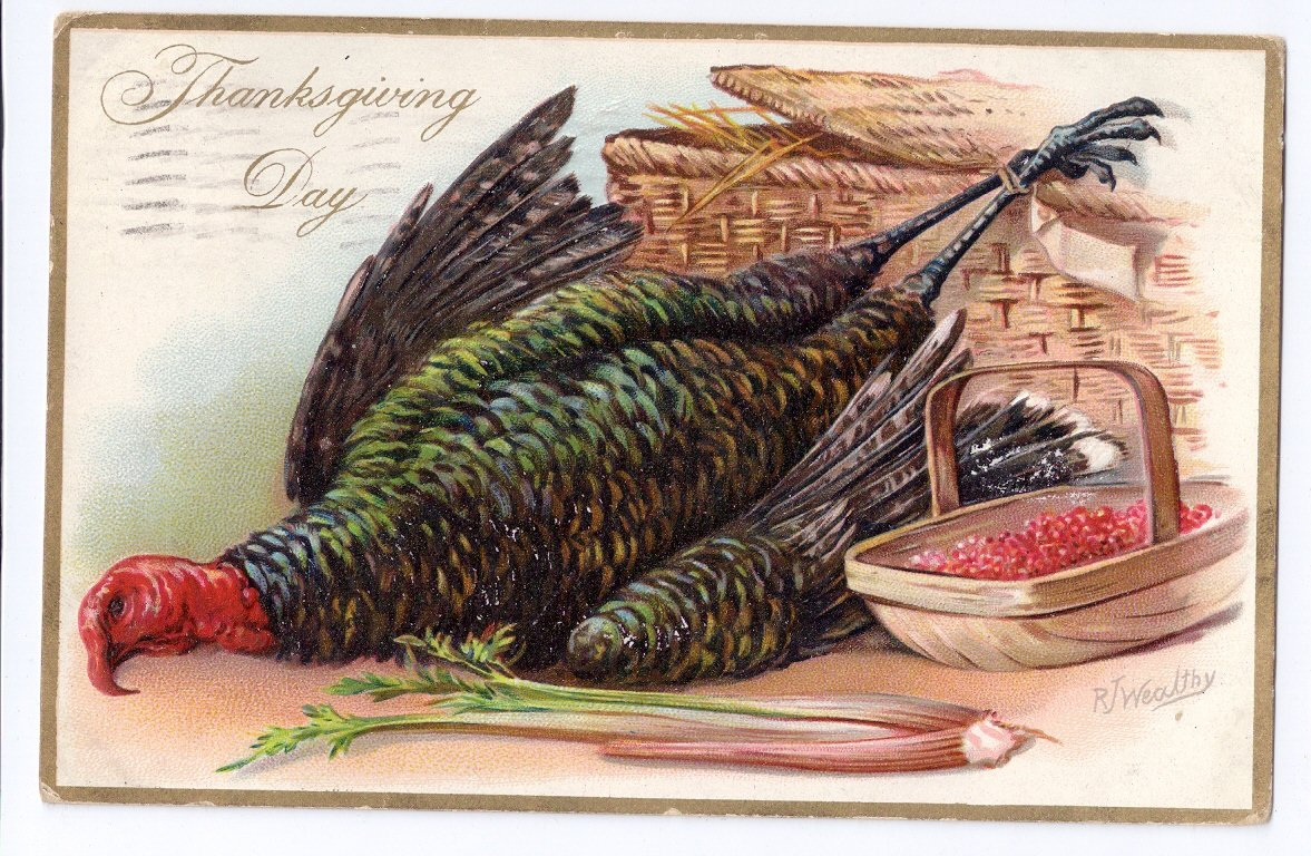 Thanksgiving Turkeys Vintage Embossed Tuck Postcard Artist Signed RJ Wealthy