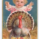 Thanksgiving Postcard Baby Chasing Turkey Vintage Gold Gilt Embossed
