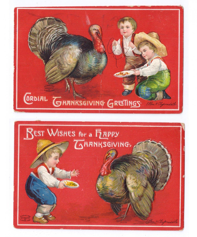 2 Clapsaddle Thanksgiving Postcards Boys Baiting Feeding Turkey Vintage Embossed