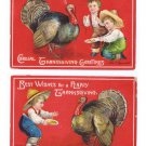 2 Clapsaddle Thanksgiving Postcards Boys Baiting Feeding Turkey Vintage Embossed