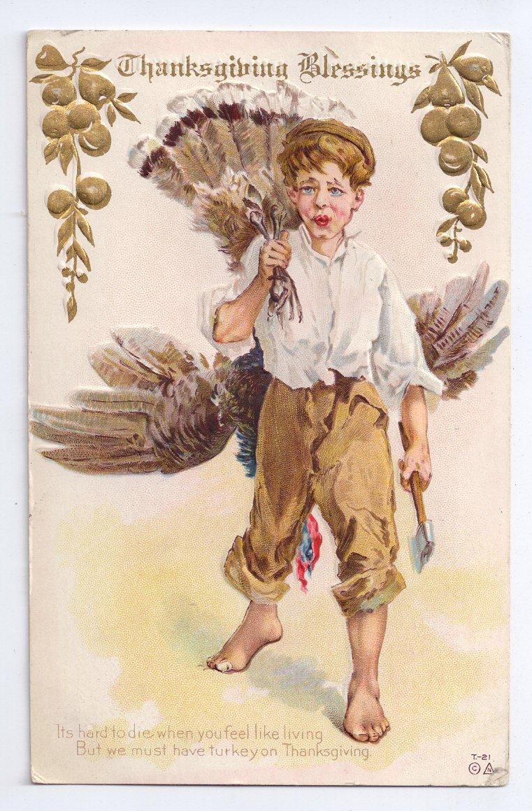 Thanksgiving Boy Turkey Over Shoulder Nash Vintage Embossed Gold Gilded 1910 Postcard