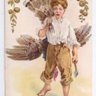Thanksgiving Boy Turkey Over Shoulder Nash Vintage Embossed Gold Gilded 1910 Postcard