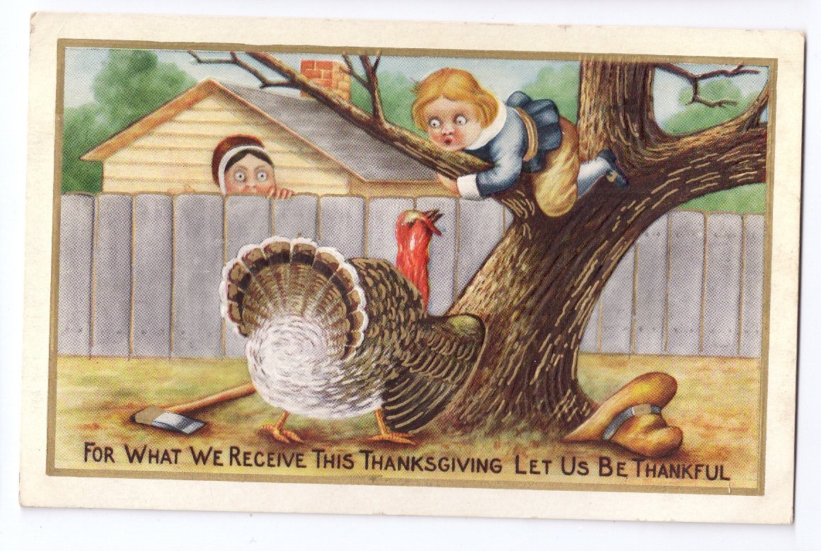 Thanksgiving Pilgrim Boy Treed by Turkey Dropped Ax Vintage Embossed Gilded Postcard