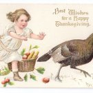 Thanksgiving Postcard Pretty Girl Chasing Turkey Basket of Apples Embossed Gilded