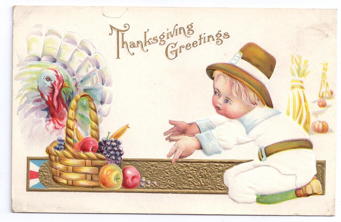 Thanksgiving Pilgrim Boy Child Turkey Fruit Basket Vintage Gold Embossed Postcard
