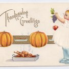 Thanksgiving Girl Pumpkins Child Roast Turkey Gold Embossed Vintage Postcard