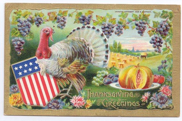 Vintage Patriotic Thanksgiving Postcard Turkey Flag Shield B. Hofmann Gold Embossed Gottschalk