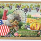 Vintage Patriotic Thanksgiving Postcard Turkey Flag Shield B. Hofmann Gold Embossed Gottschalk