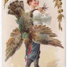 Thanksgiving Boy Carrying Turkey Over Shoulder Vintage Embossed Gold Gilded Jaeger Postcard