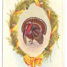 Thanksgiving Turkey Wheat Wreath Vintage Stecher Postcard 1920 Inverted Date Slug