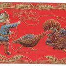 Thanksgiving Postcard Boy Cowboy Lasso Lariat Turkey Embossed Gilded Vintage 1909 Sander