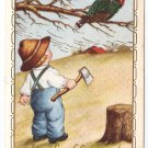 Boy with Hatchet Turkey in a tree Vintage Embossed Thanksgiving Postcard