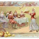 Pilgrims Feast Embossed Vintage Tuck Thanksgiving Day Postcard Seris No 175