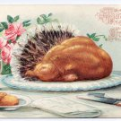 Roast Turkey with Tail Feathers Table Setting Embossed Vintage Thanksgiving Greetings Postcard