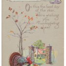 Turkey Cottage Scene Stecher Arts and Crafts Style Poem Vintage  Thanksgiving Postcard