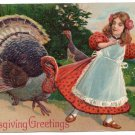 Turkey Pulling on Girls Skirt Embossed Vintage Thanksgiving Postcard PFB Paul Finkenrath