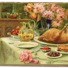 Turkey Feast Raphael Tuck Vintage Embossed Thanksgiving Postcard 1909