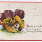 Signed Brundage Children Boy Girl Pansy Embossed Vintage Valentine Sam Gabriel Postcard