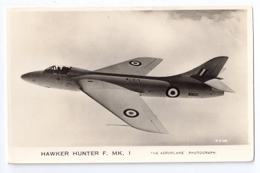 Hawker Hunter F MK 1 Fighter Jet Valentines Military Aircraft Series Postcard